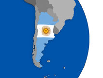 Argentina on globe with flag Stock Photo