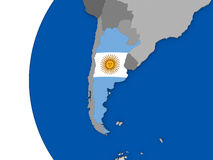 Argentina on globe Royalty Free Stock Photography