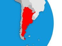 Argentina on globe Stock Photos