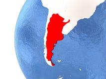 Argentina on globe Stock Image