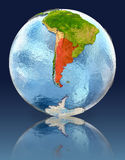 Argentina on globe with reflection Stock Photography