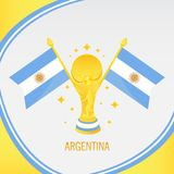 Argentina Gold Football Trophy / Cup and Flag stock illustration