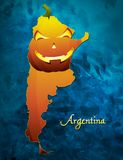 Argentina halloween map illustration with pumpkin face Royalty Free Stock Photos
