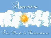 Argentina Happy independence day greeting card template with stylized flag as a sky, clouds and sun, and text. In Spanish Feliz Dia de la Independencia. Cartoon Royalty Free Stock Photography