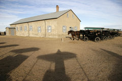 Argentina. Horses and the church in the mennonites life Stock Photography