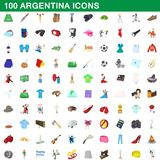 100 argentina icons set, cartoon style. 100 argentina icons set in cartoon style for any design illustration royalty free illustration