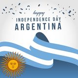 Happy Argentina Independent Day Vector Template Design Illustration. Argentina independence day flag banner waving celebration poster illustration background vector illustration