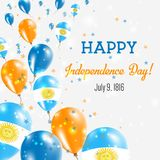 Argentina Independence Day Greeting Card. Flying Balloons in Argentina National Colors. Happy Independence Day Argentina Vector Illustration Stock Images