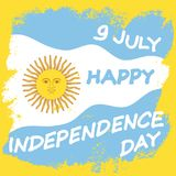 Argentina Independence Day. 9 July. Argentina Independence Day background in national flag color theme. Celebration banner with text and sun. Vector illustration Stock Photography