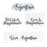 Argentina Independence Day quotes. Set of hand written calligraphic Spanish lettering quotes for Argentina Independence Day with stars, confetti, in flag colors Royalty Free Stock Photography