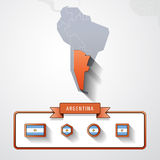 Argentina info card. Argentina on the map of South America with flags Royalty Free Stock Image