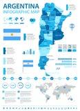 Argentina - infographic översikt och flagga - illustration Arkivfoton
