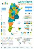 Argentina - infographic översikt och flagga - illustration Arkivbilder