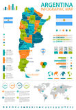 Argentina - infographic map and flag - illustration Stock Images
