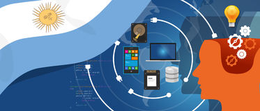 Argentina IT information technology digital infrastructure connecting business data via internet network using computer. Software an electronic innovation royalty free illustration