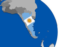 Argentina and its flag on globe Stock Photo