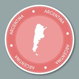 Argentina label flat sticker design. Patriotic country map round lable. Country sticker vector illustration Stock Photography
