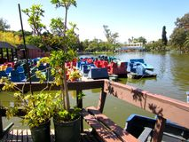 Pedal boat dock royalty free stock photography