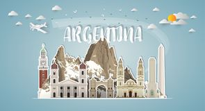 Argentina Landmark Global Travel And Journey paper background. V. Ector Design Template.used for your advertisement, book, banner, template, travel business or royalty free illustration