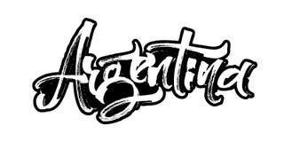 argentina Letras modernas de la mano de la caligrafía para la impresión de la serigrafía Fotos de archivo libres de regalías