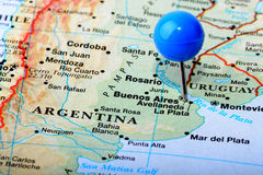 Argentina. Macro shot of a map of Argentina Royalty Free Stock Photo