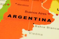 Argentina on map Stock Image