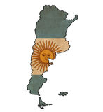 Argentina map on Argentina flag drawing. Grunge and retro flag series Stock Photo