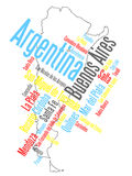 Argentina map and cities. Map of Argentina and text design with major cities vector illustration