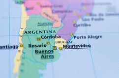 Argentina on map. Close up shot of Montevideo, Buenos Aires, Córdoba, Rosario on a map Royalty Free Stock Photo