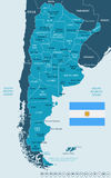 Argentina - map and flag illustration Royalty Free Stock Photo