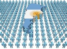 Argentina map flag with people Stock Images