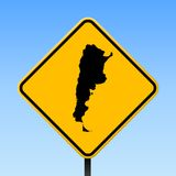Argentina map on road sign. Square poster with Argentina country map on yellow rhomb road sign. Vector illustration royalty free illustration