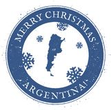 Argentina map. Vintage Merry Christmas Argentina. Stock Images