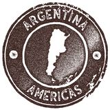 Argentina map vintage stamp. Retro style handmade label, badge or element for travel souvenirs. Brown rubber stamp with country map silhouette. Vector Stock Photography