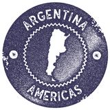 Argentina map vintage stamp. Retro style handmade label, badge or element for travel souvenirs. Deep purple rubber stamp with country map silhouette. Vector Royalty Free Stock Images