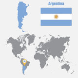 Argentina map on a world map with flag and map pointer. Vector illustration. Argentina  map on a world map with flag and map pointer. Vector illustration Royalty Free Stock Image