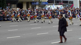 Argentina marching band in Argentina Bicentennial independence day celebrations stock footage