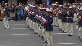 Argentina marching band musicians sideshot in Argentina Bicentennial independence day celebrations stock footage