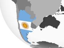 Argentina med flaggan på jordklotet royaltyfri illustrationer