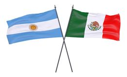 Two crossed flags. Argentina and Mexico, two crossed flags isolated on white background. 3d image Stock Image