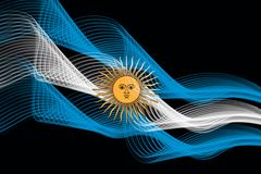 Argentina national flag of neon glowing intersecting lines. On black isolated background royalty free illustration