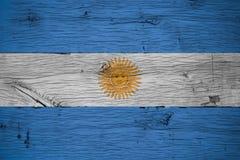 Argentina national flag painted old oak wood Royalty Free Stock Image