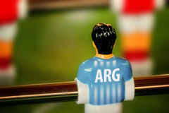 Argentina National Jersey on Vintage Foosball, Table Soccer Game Stock Photo