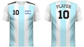 Argentina Fan sports tee shirt in generic country colors. Argentina national soccer team shirt in generic country colors for fan apparel Royalty Free Stock Photography