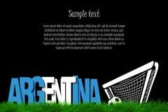 Argentina och en fotbollboll på porten stock illustrationer