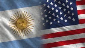 Argentina och för USA realistiska halva flaggor tillsammans royaltyfri illustrationer