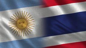 Argentina och Thailand realistiska halva flaggor tillsammans royaltyfri foto