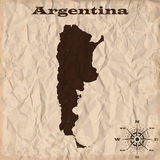 Argentina old map with grunge and crumpled paper. Vector illustration Stock Photo