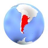 Argentina på det isolerade metalliska jordklotet stock illustrationer