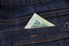 Argentina 500 pesos em uns bolsos das calças de brim Imagens de Stock Royalty Free